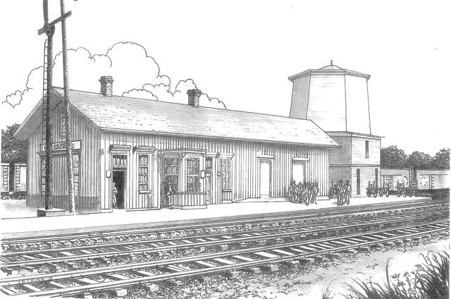 This drawing by Dan Crusie of the B&O Railroad in Greenfield, circa 1854, will be used to make 10 prints that will be auctioned off during the Greenfield Rotary Club Auction from 1-3 p.m. Saturday, July 21 at the Greene Countrie Towne Festival.