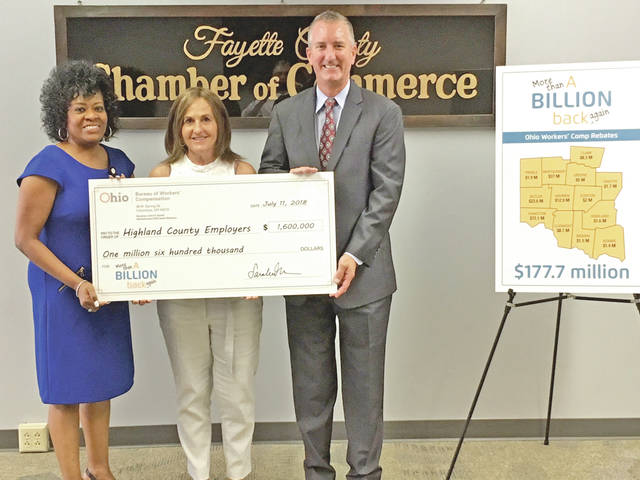 Pictured, from left, are Shawn Crosby, Ohio Bureau of Workers' Compensation claims director - Cincinnati; Melissa Elmore, president of the Highland County Chamber of Commerce; and Bob Braun, Ohio Bureau of Worker's Compensation regional business development manager for Southwestern Ohio. Elmore is receiving a check on behalf of Highland County Employers totaling more than $1.6 million in rebates from the Ohio BWC.