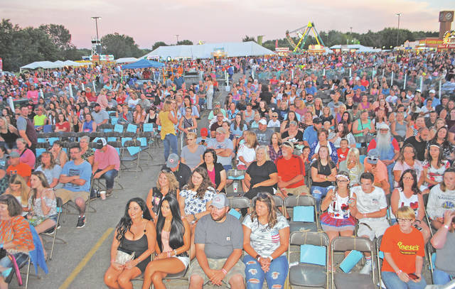 Some of the crowd is pictured a few minutes before the start of the Dylan Scott concert Friday evening at the Festival of the Bells. The festival was held for the first time at Southern State Community College and festival committee president Rick Williams estimated that the crowd on Friday was one of the larger ones the festival has ever hosted.
