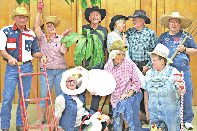 Some of the cast members for the July 28 Hee Haw Show at the Highland County Senior Citizens Center in Hillsboro posed for this photograph.