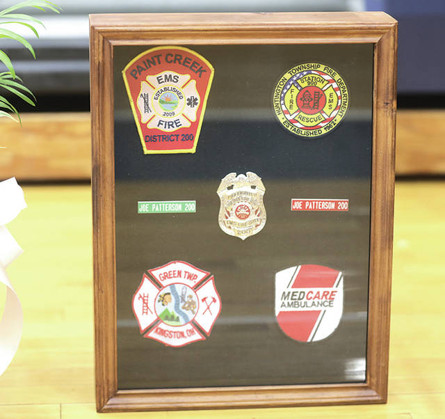 Shown are uniform patches worn by fallen firefighter Joe Patterson.