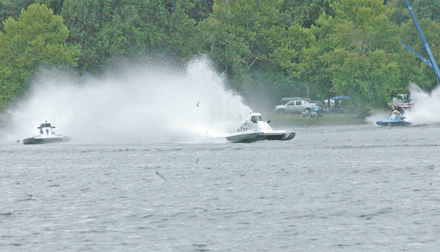 Racers compete Saturday afternoon on Rocky Fork Lake during the Rumble in the Hills power boat races.