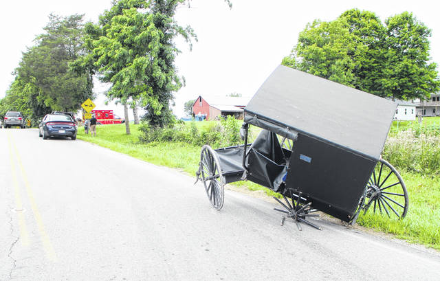 This horse-drawn buggy was damaged Thursday after it was apparently struck by a minivan on SR 138 at Worley Mill Road.