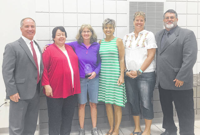 Pictured, from left, are Fairfield Superintendent Tim Dettwiller, Mary Jo Cook, Kay Cummings, Twana Zimmerman, Jenny Smallridge and Fairfield School Board President Rindy Mathews.