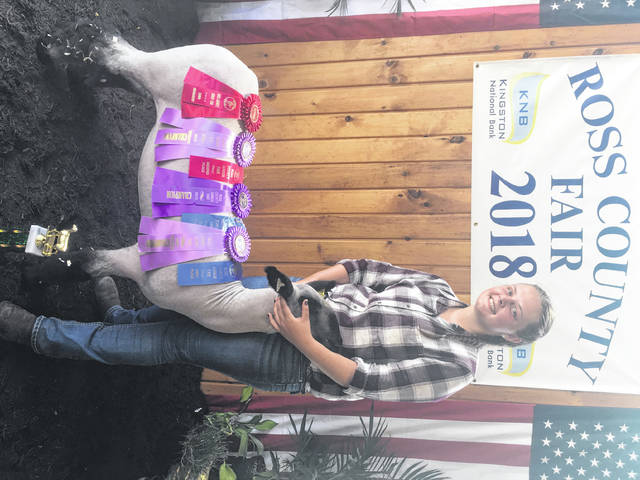 Brooke Kline, a Greenfield area resident and member of the Frogtown Thrifters 4-H Club, was the winner of the Grand Champion Cross Breeder Lambs at the 2018 Ross County Fair. She will be going to Ohio University this fall to become a teacher.