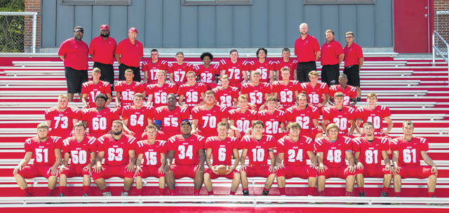 The Hillsboro Indians Football team assembles at the Hillsboro track and field complex for a team photo. Players pictured back row (l-r): Grant Miller, Tyler Ferrell, Malaki Porter, Michael Bingaman, Derek Whitt and Christopher Stout. Third row (l-r): Cameron Roberts, Hayden Hawk, Justin Conn, Isaac Lewis, Sharol Koehler, Garrett Fannin, Brody Miller, Keith Doughman and Kia Rickman. Second row (l-r): Collin Clouser, Zacha Burns, Cade Reed, Sanchez Seals, Draven Stodgel, Daulton Thompson, Justin Spears, Silas Simmons, Logan Hester and Mark Gallimore. Front row (l-r): Mike Rose, Richard Adkins, Lane Cluff, James Coday, Deon Burns, Mason Swayne, Tyler Workman, Josh Keets, Reece Bloomfield, Luke Middleton and Max Conover.