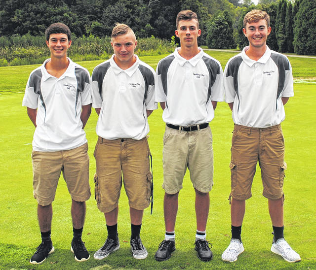 The Lynchburg-Clay boys golf team poses for a picture at Whiteoak Golf Course in Sardinia. Pictured (l-r): Damin Pierson, Austin Willey, Tyler Stevens and Brayden Eversole.