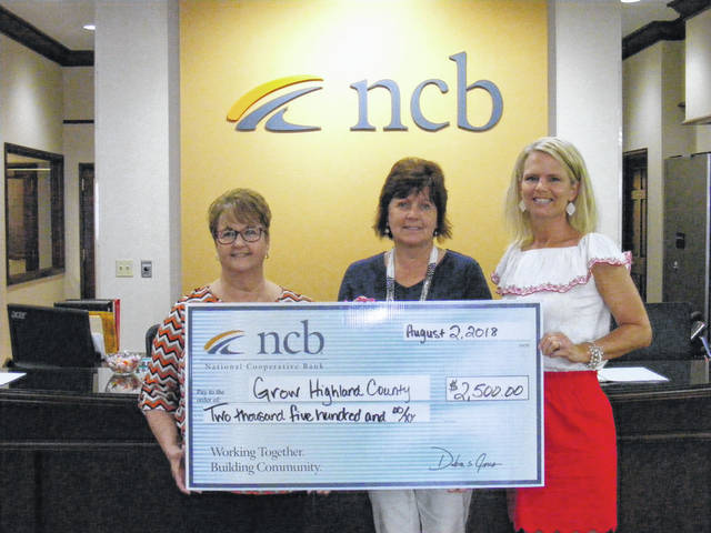 NCB recently donated $2,500 to Grow Highland County. The economic development program is designed to foster entrepreneurship and small business growth throughout Highland County. Pictured are Tammy Irvin, NCB Regional branch manager; Diana Fordyce, board member; and Tracy Evans, facilitator.