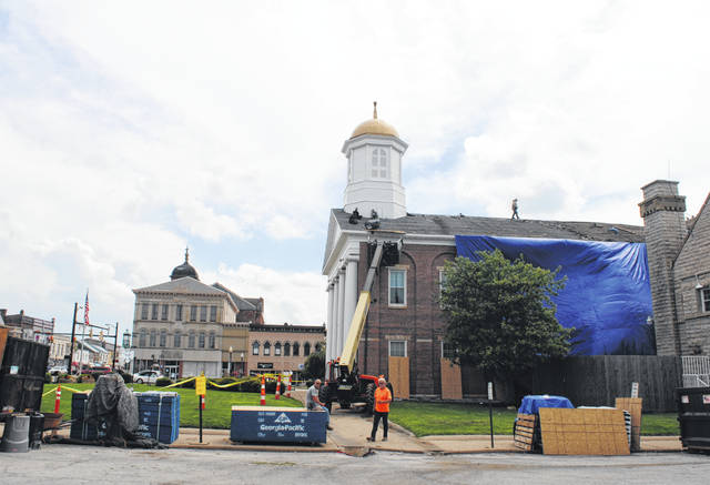 Contractor crews on Thursday continued replacing the roof on the Highland County Courthouse. The project is expected to be finished Saturday.