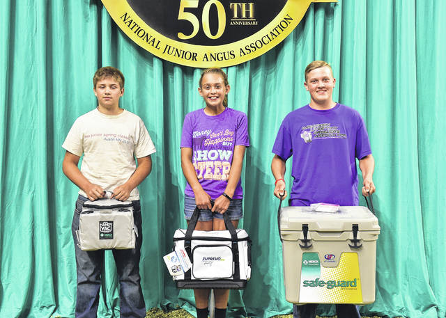 These junior members won top honors in the junior division of the skill-a-thon contest at the 2018 National Junior Angus Show Awards Ceremony last month in Madison, Wis. Pictured from left are John Swanek, Dexter, Minn., third; Sydney Sanders, Leesburg, Ohio, second; and Ethan Lulich, Lyndon Station, Wis., first.