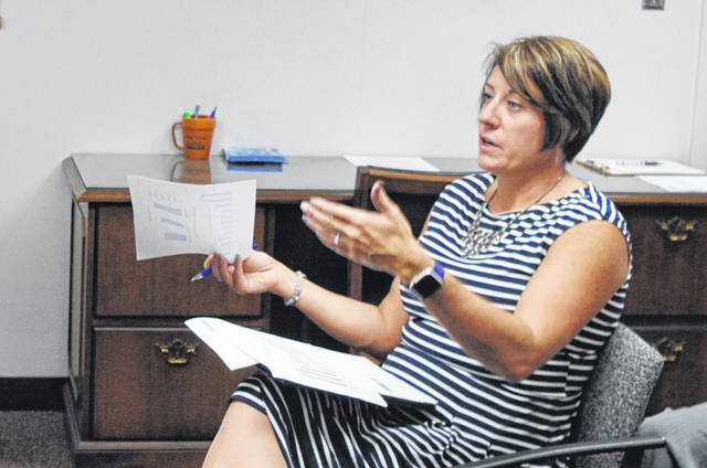 Highland County Job and Family Services Director Katie Adams speaks to Highland County Commissioners on Wednesday.