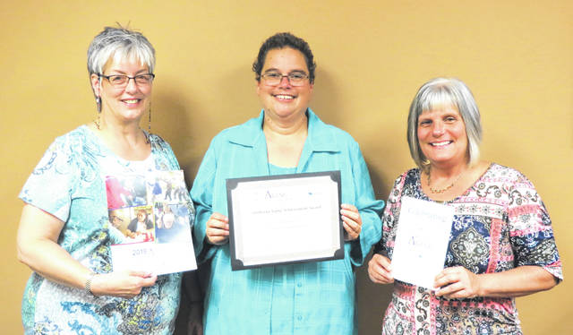 The Area Agency on Aging District 7 in Ohio was recently recognized at the national level by the National Association of Area Agencies on Aging with an Achievement Award for successes with the AAA7's Hospital2Home program. Pictured are AAA7 representatives Nina Keller, assistant director; Donna Hurt, options coordinator; and Vicky Abdella, director of community programs.
