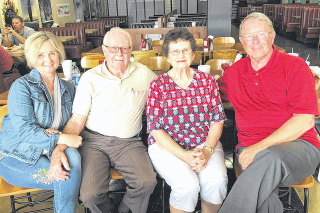 John and Nancy Abernathy of Hillsboro celebrated their 65th wedding anniversary Wednesday. They were married on Sept. 19, 1953. They are pictured at a recent family gathering with their daughter, Ann Morris, and son, Gary Abernathy.