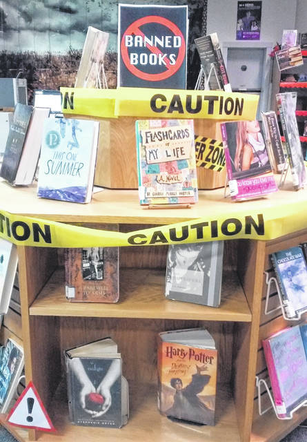 This example of banned books is currently on display at Highland County District Library in Hillsboro.