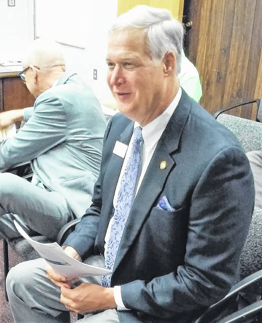 Great Oaks President and CEO Harry Snyder is pictured during Wednesday's Highland County Board of Commissioners meeting.