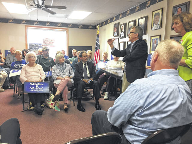 Ohio Attorney General and Republican gubernatorial candidate Mike DeWine and his wife, Fran, visited with supporters at Highland County GOP headquarters in Hillsboro Saturday morning. They also dropped in at Momma's West Main Cafe to visit with patrons there.