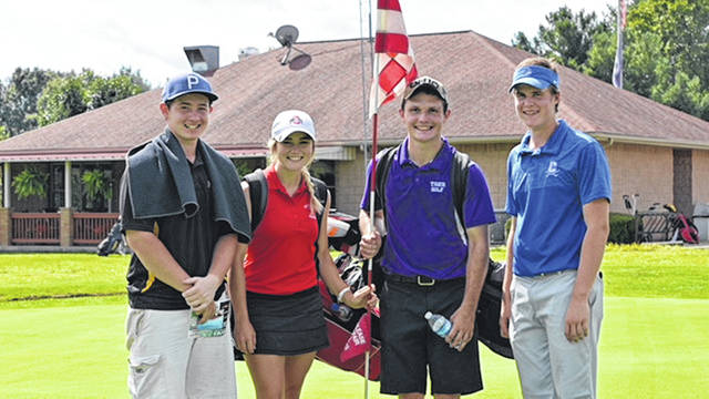 Group one at the FAC boys golf tournament poses for a picture on Tuesday at Franklin Valley GOlf Course in Jackson. Pictured (l-r): Hayden Walters (Miami Trace) Kristin Jamieson (Hillsboro) Trevor Newkirk (McLain) Daniel Haller (Chillicothe)