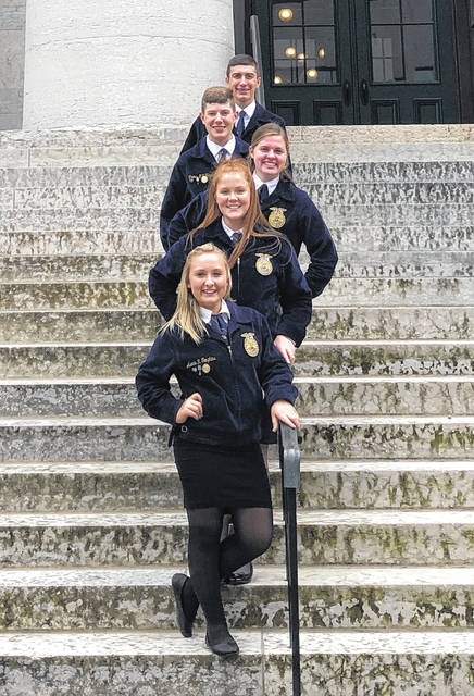On Wednesday Sept. 26, five Fairfield FFA members attended the Ohio Legislative Leadership Conference. The members included Paige Teeters, Allyce McBee, Alexis Tompkins, Kohler Bartley and Thomas Fraysier. Students learned how to be an effective advocate for agriculture. They heard from John Torres, the director of government and industry affairs. They also heard from Senator Dave Burke. The members got to make their own plan for action and practiced how to present pressing issues to representatives. Members also enjoyed lunch and talked about pressing matters with a few state senators. Pictured, top to bottom, are Kohler Bartley, Thomas Fraysier, Paige Teeters, Allyce McBee and Alexis Tompkins.