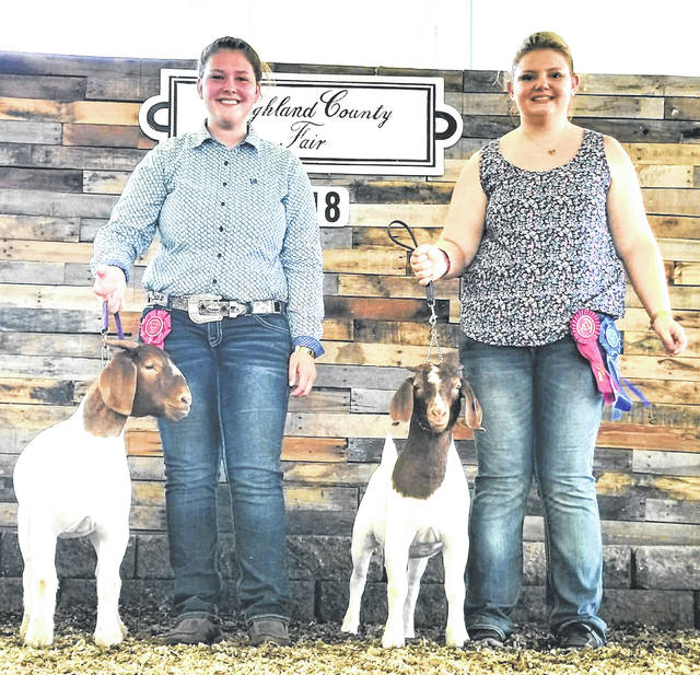 Pictured are Claire Wilkin and Ashlie Hillyer showing their goats at the 2018 Highland County Fair.