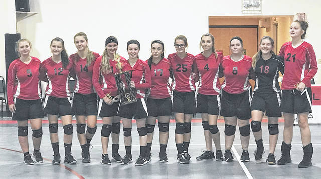 Pictured (L-R) Hayley Throckmorton, Brya Labig, Tara Burns, Lizzy Pierce, Hope Wyckoff holding trophy, Kiara Clark, Hannah McIntyre, Brynli Labig, Alisha Copley, Kelsey Storer, and Aubry McIntyre.