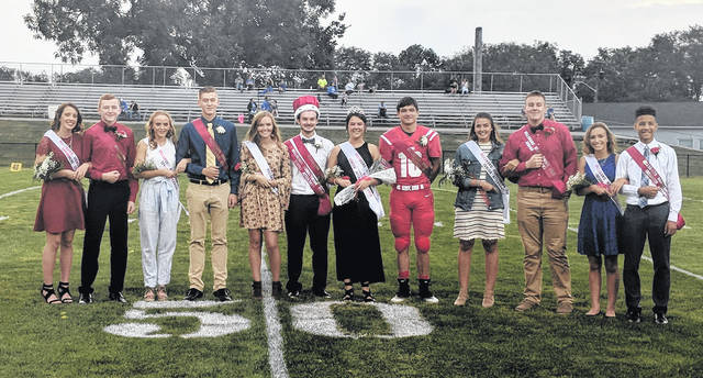 The 2018 Hillsboro High School Homecoming court was honored at midfield before Friday's win over CNE. Pictured (l-r): Zinny Adams, Lawton Parry, Molly McCreary, Quinn Conlon, Johanna Holt, King Cole Newsome, Queen Molly Ferguson, Tyler Workman, Josie Hopkins, Caleb Crawford, Brynn Bledsoe and Quinton Captain.