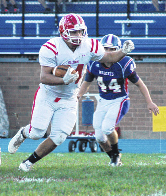 In this Times-Gazette file photo, from September 14, Hillsboro's Josh Keets runs the ball at Williamsburg High School where the Indians beat the Wildcats 55-35.