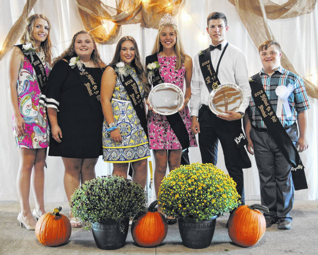 Brynn Karnes and Logan Cummings were crowned queen and king, respectively, Saturday at the 2018 Highland County Fair. They are pictured above with their court, from left, queen's attendants Brianna Burleson, Cora Gillespie and Brianna Purvis; Karnes; Cummings; and king's attendant Nathan Frazer.