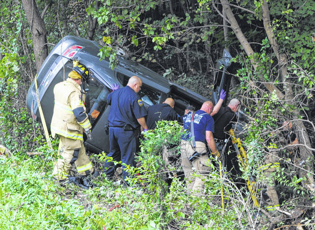 A 79-year-old woman had to be extricated from her vehicle and flown to the hospital Wednesday after her vehicle rolled onto its side, coming to rest on the brink of a ravine on the east side of Hillsboro. Sgt. Shawn Kelley of the Hillsboro Police Department said Ellen Ellis of Hillsboro was driving eastbound on Chillicothe Avenue in a gray Chevrolet Aveo when the vehicle reportedly drove off the right side of the road, struck a tree, rolled onto its top and ended up on its side with Ellis, the sole occupant, trapped inside. First responders had to secure the vehicle before cutting the car open and pulling Ellis out. Kelley said Ellis was responsive with emergency personnel. She was evacuated by medical helicopter to Kettering Medical Center, according to Kelley.