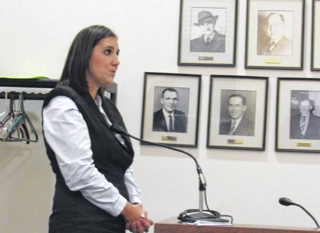 Lauren Bowen with the state treasurer's office speaks to Greenfield Village Council on Tuesday.