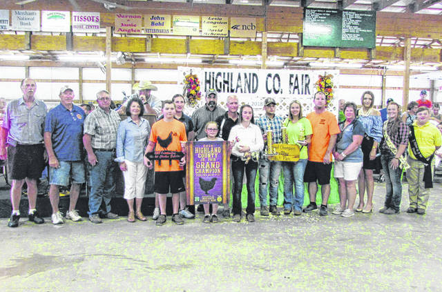 Hope Wyckoff's Grand Champion Meat Pen sold for $3,200 Thursday at the Highland County Fair. Wyckoff also won Outstanding Market Exhibitor honors. The bird was purchased by 4 A Farm - Kevin and JoHeather Arnett, A-1 Tree Care, The Cassner Foundation, Chris Hopkins Transportation, Edgington Funeral Home, Higgins Steel Roofing, Highland County Republican Party, Kentucky Fried Chicken, David and Lesia McKenna, Merchants National Bank - Hillsboro, Ponderosa Steakhouse, R&R Fabrication by Design Show Equipment, Rhodes Electric Inc., RhonFarm LLC/Neil Rhonemus Family, Rhonemus Valley Farms, VFW Post 9094 and Jason and Buffy Wyckoff.