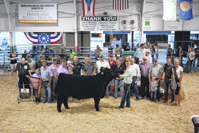 Dawson Osborn's Grand Champion Market Steer sold for $4.30 per pound Friday night at the Highland County Fair. The buyers were Bohrer Veterinary Services, Burwinkel Family Dentistry, Darby Pine Farms, Dickey Group Realtors, Five Points Implement Company, Greystone Systems, Paul Hall Insurance, Hamilton Insurance Agency, Merchants National Bank Hillsboro, Nathan Mootz LG Seeds, Sherwood Auto and Campers, Sunrise Co-Op and Union Stock Yards.
