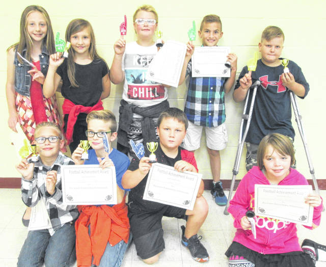 The fourth and fifth grade students at Buckskin Elementary participated in a co-ed, round-robin intramural flag football tournament. The 2018-19 intramural season will be played during lunch time recess with a variety of physical activities. Team No. 2, Tiger Cubs, took the championship with a record of 6-0 for an undefeated season. Pitured are members of the championship team including Captain Camden Allen, Baylee Hickok, Jordan Bell, Kaelin Burchett, Zayden Daugherty, Cullen Beatty, Trinity Miller, Carson Shope and Julian Swan.