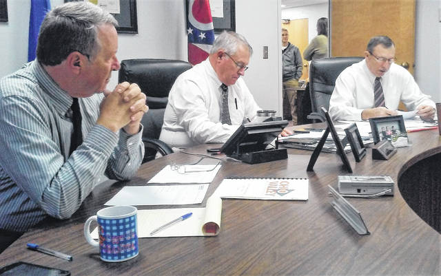 Highland County Commissioners, from left, Gary Abernathy, Jeff Duncan and Terry Britton are shown during Wednesday's regularly scheduled meeting.