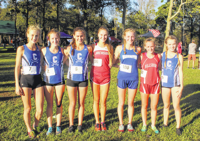 The top seven finishers in the girls FAC cross country league meet pose for a photo following the race. Pictured (l-r): Laikin Tarlton, Ella Cuzzolini, Caitlyn Mauger, Mazie Wetcher, Cloe Copas, Mollie McCreary and Liv Janes.