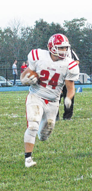 In this Times-Gazette file photo Hillsboro's Josh Keets rushes against the Williamsburg Wildcats on September 14. The Indians moved into sixth place in the OHSAA computer ratings in week eight.