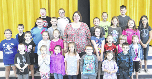 The following students have been chosen as September Students of the Month at Lynchburg-Clay Elementary School. To be chosen, these students must have been positive role models for their peers, as well as proven trustworthy and helpful within their school. Pictured, with grade in parenthesis, are (front row, l-r) Jayden Pack (1), Mylah Knisley (K), Alyssa Mozingo (K), Lydia Rosselott (K), Kolstin Knisley-Didonato (K), Addelynn Osborn (PK) and Mason Smith (1) (second row) Olivia Furbee (2), Addison West (1), Lillian Curry (2), Shaylynn Mozingo (2), Principal Mrs. Godby, Jasmine Woods (2), Luke Flowers (2), Jocelyn Hawkins (1) and Lillian West (1); (third row) JJ Pennigton (3), Hayden Stratton (3), Colton Warnock (3), Carter Faust (3), Leila Hughes (4), Chloe Baker (4) and Brianna Garrett (4); (fourth row) Max Baker (4), Abby McGuire (5), Kaylee Thompson (5) and Kaden Vilvens (5). Absent from picture were Cole Powers (PK) and Gage Thompson (5).