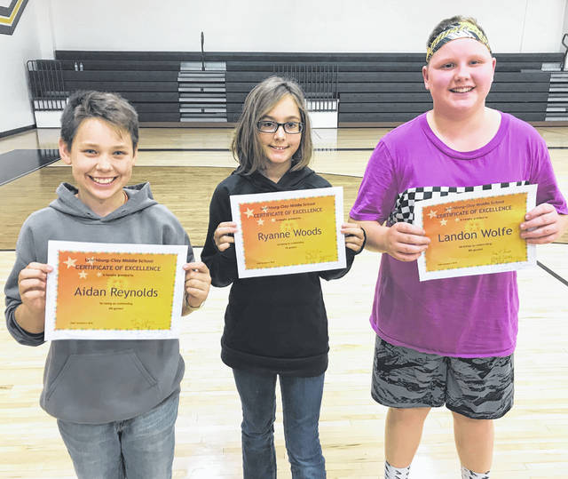 Lynchburg-Clay Middle School has announced its October Students of the Month. They are sixth grader Aidan Reynolds, seventh grader Ryanne Woods and eighth grader Landon Wolfe.