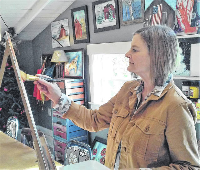 A Paint & Sip event with the Highland County Chamber of Commerce will be led by Letty Allen, owner of Field of Dreams. An artist in her own right, examples of her works hang on the wall at her shop in New Vienna.
