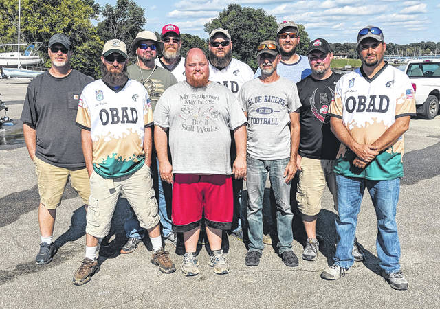 OBAD members pose for a group photo Saturday at Rocky Fork Lake. Pictured back row (l-r): Ryan Sapp, Mike Hall, Larry Moore, Elijah Williams and David Mitchell. Front row(l-r): Joey Duffey, Bryan MacFarlane, Todd Krajewski, Carey Dalton and Micah Lipps.