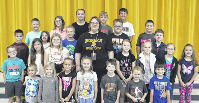 The following children were chosen as October Students of the Month at Lynchburg-Clay Elementary. The students were chosen by their teachers for displaying positive behavior, being responsible and respectful, doing good deeds as well as their school work, and for being a positive role model for others. Pictured are (front row, l-r) Lukas Fields (kindergarten), Myah Pitts (first), Jenna Doughman (first), Addison Haygood (first), Willy Lewis (second), Kamryn Tong (kindergarten) and Benjamin Henson (kindergarten); (second row, l-r) Graden Johnson (kindergarten), Maddie Pierce (second), Haylee Lansing (third), Principal Angela Godby, Autumn Blankenship (third), Allison Lytle (third) Hailey Hively (second) and Aubrey Hertlein (second); (third row, l-r) Ian Hornschemier (fourth), Emma Lomax (fourth), Melany Stevenson (fourth), Cayleb Watson (fourth), Trevin Falgner (first) and Evan Patton (first); (fourth row, l-r) Tommy Myers (second), Julai Zarate (fifth), Emily Christophel (fifth), Aiden Quarles (fifth) and Denver Clinton (fifth). Not pictured were Caisyn Jones (prekindergarten), Holley Butler (prekindergarten) and Christopher Milby (second).