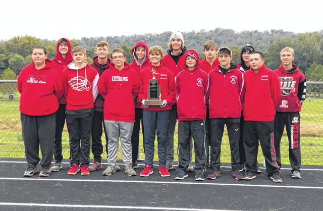 Fairfield's boys cross country team poses with their SHAC Championship trophy following the SHAC league meet. Pictured (l-r): Front row-Tucker Green, Orrie Friend, Josh Brown, Riley Friend, Brant Haines, Cohen Frost and Gavin Cox. Back row- Gavin Campbell, Bennett Hodson, Ethan Davis, Brandtson Duffie, Ryan Benson, Blake Haines and Austin Setty.