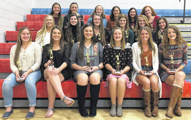 The Southern Hills Athletic Conference volleyball All-SHAC team members are pictured at Peebles High School gymnasium. Front row (l-r): Lauren Arnold, Taylor Dotson, Delaney Harper, Layla Hattan, Jacey Justice and Brooke Kennedy. Middle row (l-r): Sydni King, Macy Knoblauch, Brooke Laymon, Kamryn Magee, Madison Pierce and Abby Pitzer. Back row (l-r): Kiersten Rowe, Wylie Shipley, Kylie Sims, Aaliyah Smith, Alisa Stahl and Hannah Wiederhold.