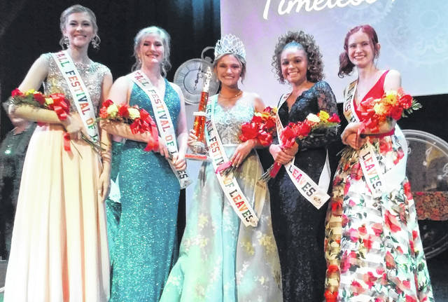 The 51st Fall Festival of Leaves queen and her court were selected Thursday night at the Paxton Theatre in Bainbridge. Pictured, from left, are first runner-up Electa Seymour of Chillicothe, second runner-up Hallie Lallier of Unioto, queen Madison Hanks of Zane Trace, third runner-up Keegan Hall of Adena and fourth runner-up Makinsey Greisheimer of Chillicothe. The festival continues through Sunday, closing down with a drawing for prizes at 5:30 p.m.