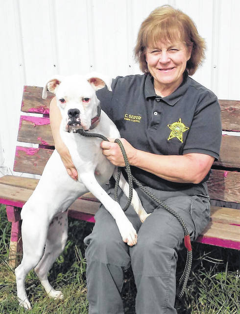 "Barktoberfest is being held Saturday, Oct. 13 from 10 a.m. to 4 p.m. in the parking lot at Holtfield Station in Hillsboro. The annual event, presented by the Highland County Dog Pound Volunteer Program, raises funds for supplies and necessities at the dog pound facility. Dog Warden Cathy Seifer said there will be something at Barktoberfest for the whole family, such as a bake sale and marketplace with area vendors, a bouncy house and games, and a silent auction and raffle with all proceeds ""going to the dogs."" Seifer said there will be puppies up for adoption at this year's Barktoberfest. She is shown here with Tess, a pure-bred boxer who needs a good home."