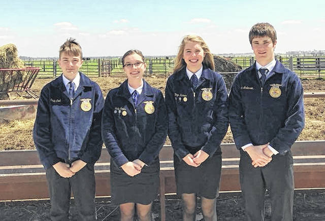 Pictured left to right are McClain FFA members Caleb Cook, Emily Jones, Bryn Karnes and Eric Anderson. These members will compete in career development events at the 91st National FFA Convention & Expo later this month.