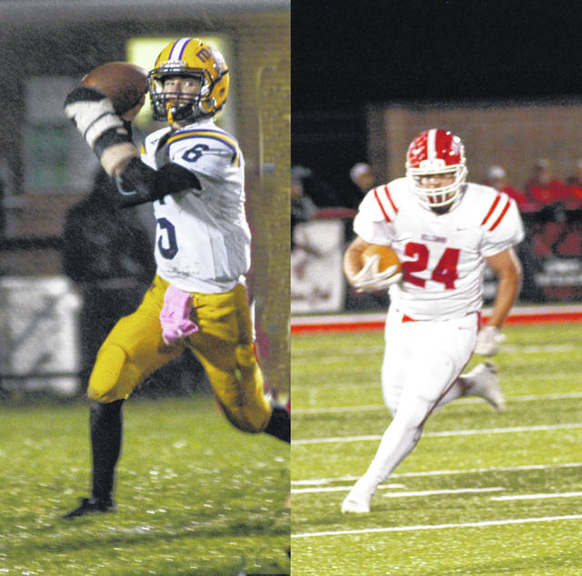 McClain's Eric Anderson (left) and Hillsboro's Josh Keets (right) are two of the seven Highland County football players recognized in the OPSWA All-Ohio lists.