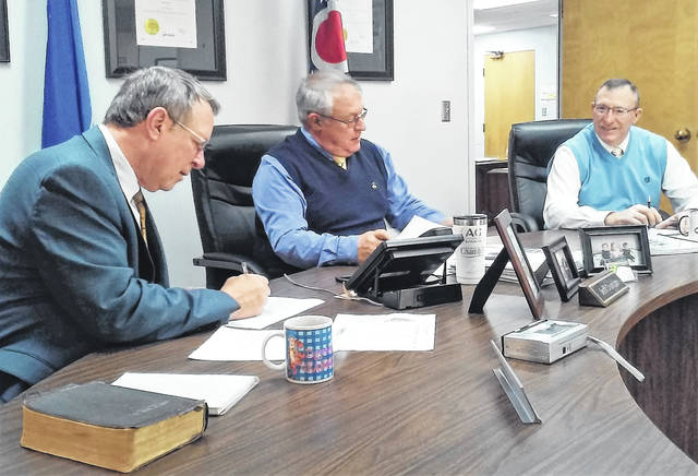 From left, Highland County Commissioners Gary Abernathy, Jeff Duncan and Terry Britton are shown during Wednesday morning's weekly meeting.