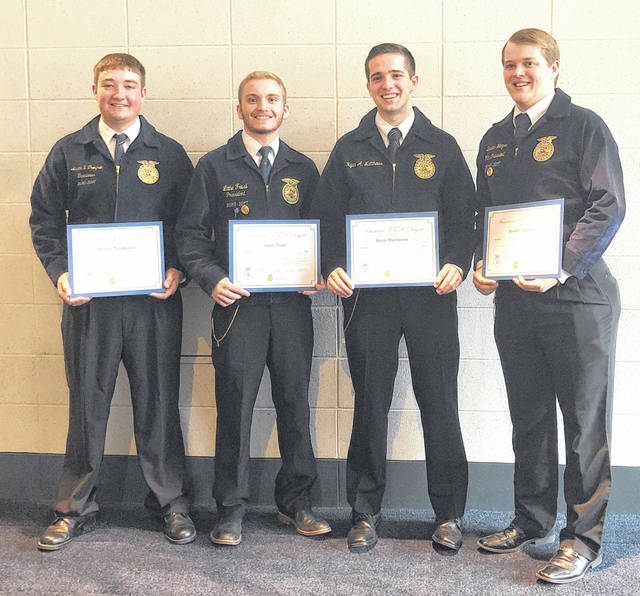 Fairfield FFA Chapter American Degree recipients included, from left, Keith Thompson, Lane Frost, Ryan Matthews and Brayden Heizer.
