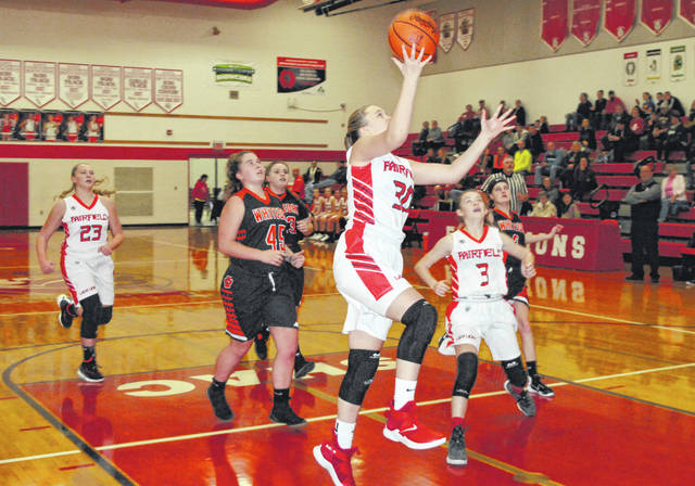 Fairfield freshman Braylynn Haines rises up for a layup against the Whiteoak Lady Wildcats at Grandle Gymnasium in Leesburg on Thursday. The Lady Lions improved to 2-2 on the season with a wire to wire 81-9 win over Whiteoak.