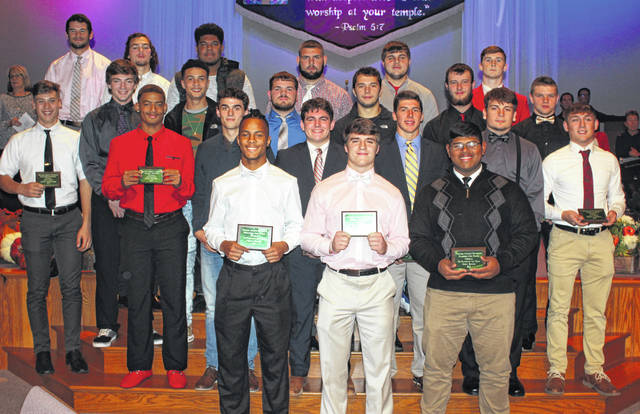 Members of the All-FAC football team were recognized at the second annual Fall Sports Banquet at the Grace Community Church in Washington Court House Thursday, Nov. 15. Deon Burns, Lane Cluff, Josh Keets, Max Conover, Mason Swayne and Mark Gallimore were honored for the Hillsboro Indians. Eric Anderson and Dalton Mischal were honored for the McClain Tigers.